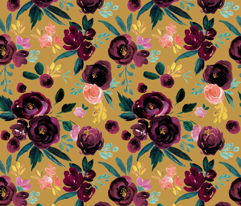 valentina plum rose on gold fabric by crystal_walen on Spoonflower - custom fabric