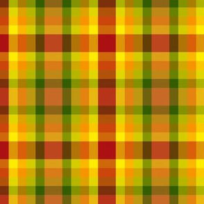BN11 - Summer Romp Crisscross Plaid in red - orange - yellow - green - Large Scale