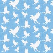 Small Flock of Pegasus on Blue Linen