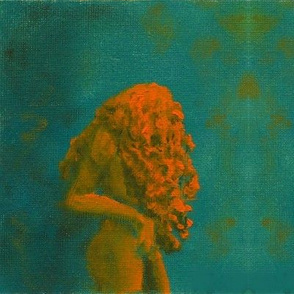 Tumbling down -Small oil#1-Saffron on Teal
