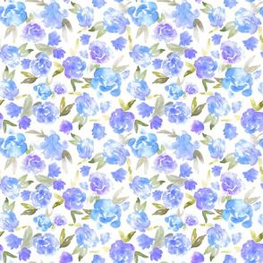 Watercolor Floral - Blue - Smaller Scale