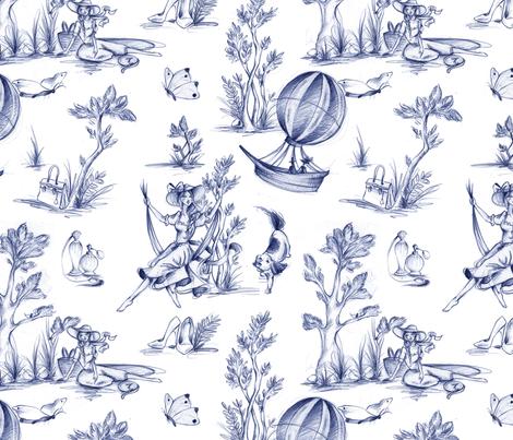 Fashionista Toilé - blue fabric by dorinus_illustrations on Spoonflower - custom fabric