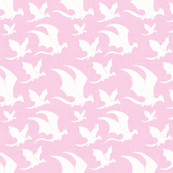 Prim and Proper Dragons on Pink Linen
