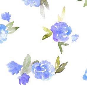 Watercolor Floral - open - blue - larger scale