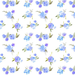 Watercolor Floral - open - blue - smaller scale