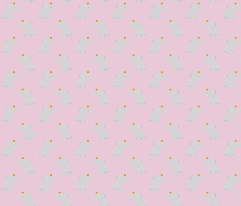 crowned elephants // cotton candy fabric by ivieclothco on Spoonflower - custom fabric