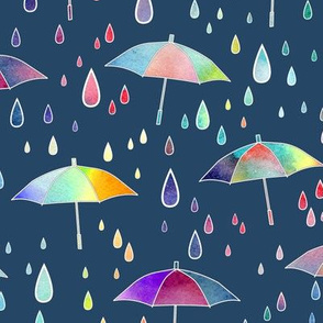 Umbrellas - dark teal background
