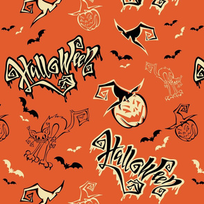 Halloween. Lettering. Funny cartoon pumpkin monster in witch hat. Bat. Cat monster.