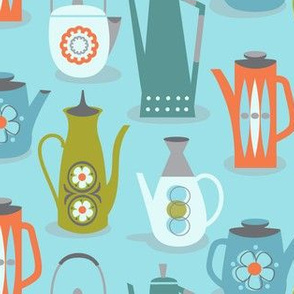 60s teapots on blue