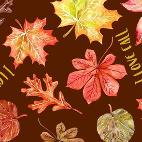 """I love fall"" text w autumn leaves pattern"