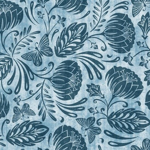 Arabella - Damask Washed Indigo Blue