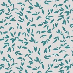Leaves Cyan Grey