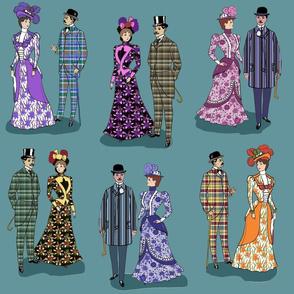 Victorian patterns on blue 18x18