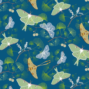 Luna Moth Blue Forest