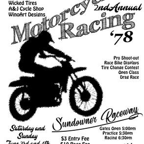 Vintage Motorcycle Dirt Bike Racing Flyer