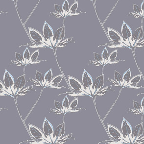 Botanical Leaves - Grey with white and a hint of blue