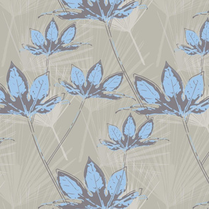 Botanical Leaves with Palms - Pale grey with sky blue