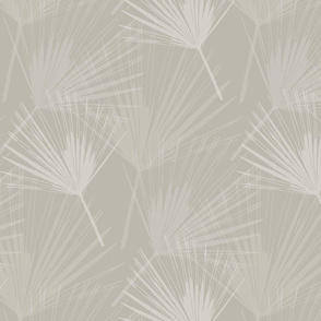 Palm Leaves - Paler Grey on pale grey