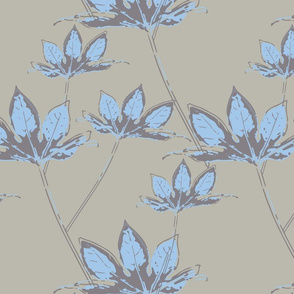 Botanical Leaves - Pale grey with sky blue
