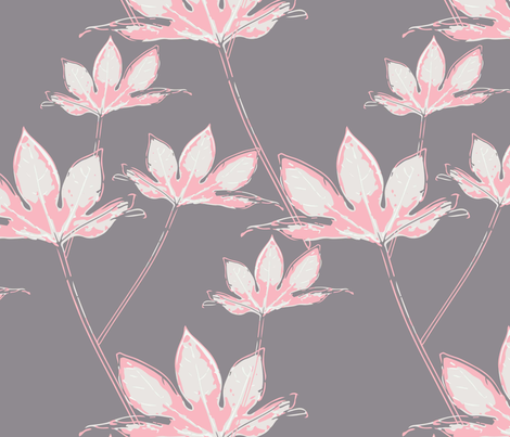 Botanical Leaves - Pink on Grey fabric by julesjac964 on Spoonflower - custom fabric