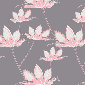 Botanical Leaves - Pink on Grey