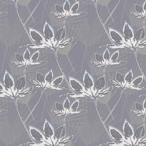 Botanical Leaves with Palms - Grey with White and a hint of Blue
