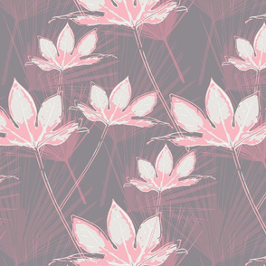 Botanical Leaves with Palms - Grey with Pink and a hint of Pure White