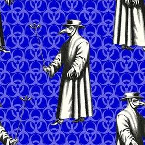 Plague Doctor on Blue Biohazard Backdrop