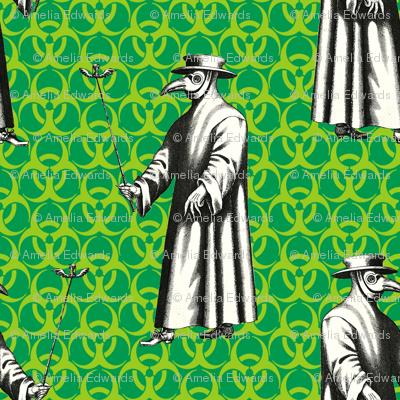 Plague Doctor on Green Biohazard Backdrop