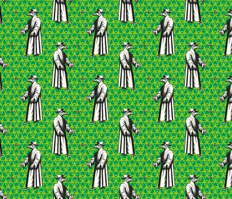 Plague Doctor on Green Biohazard Backdrop fabric by ameliae on Spoonflower - custom fabric