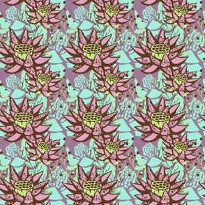 Mauve Lotus Floral Botanical
