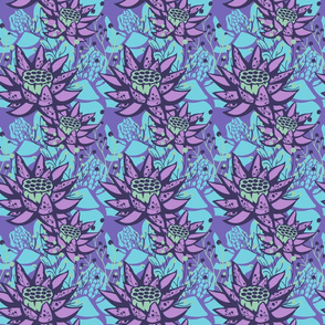 Purple Lotus Floral Botanical