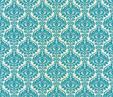 Teal and Ecru Damask fabric by artsytoocreations on Spoonflower - custom fabric