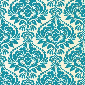 Teal and Ecru Damask