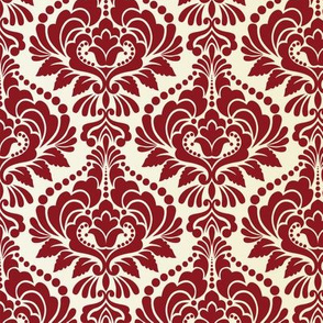 Cranberry and Ecru Damask