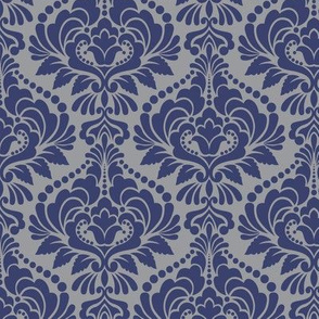Silver and Blue Damask
