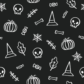 Skulls, pumpkins, candies