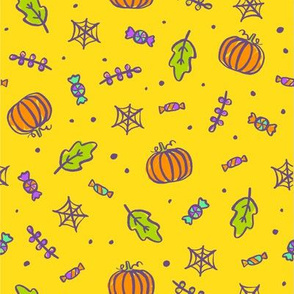 Pumpkins, candies, leaves