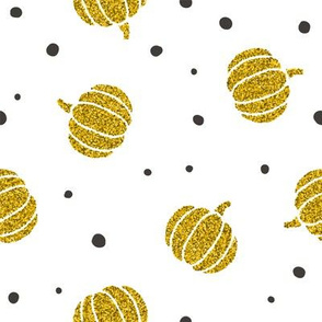 Cute gold glitter pumpkins