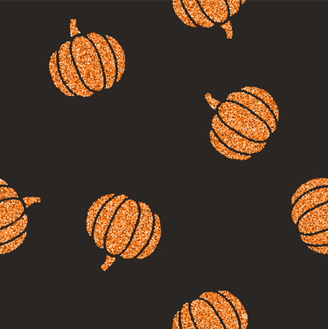 Orange glitter pumpkins on black fabric by kondratya on Spoonflower - custom fabric