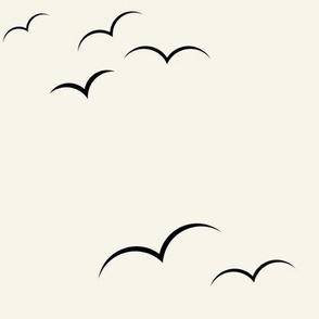 birds - black on ivory