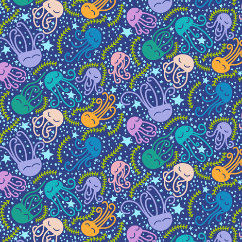Sleepy jellyfish fabric by sobonnydesigns on Spoonflower - custom fabric