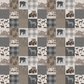 """2"""" Old Farm Quilt -  Soft Brown And grey"""