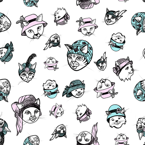 Flapper Cats Love to Wear Hats on White Background fabric by nicoletlaursen on Spoonflower - custom fabric