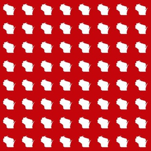 "itty bitty 1"" Wisconsin silhouettes,  college white on red"
