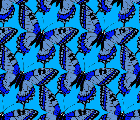 Butterflies Blue on Blue fabric by fabric_is_my_name on Spoonflower - custom fabric
