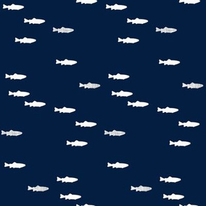 fish on navy - little man - navy and grey (buck) quilt woodland coordinate C18BS