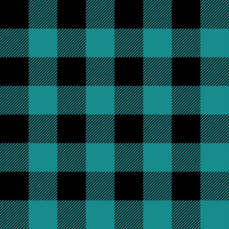 "1"" scale - dark teal and black plaid C18BS fabric by littlearrowdesign on Spoonflower - custom fabric"