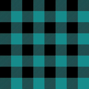 "1"" scale - dark teal and black plaid C18BS"
