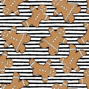 gingerbread man cookie  toss on black stripes